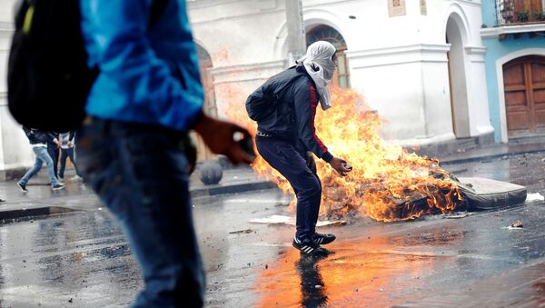 Los manifestantes en Ecuador - Sputnik Mundo