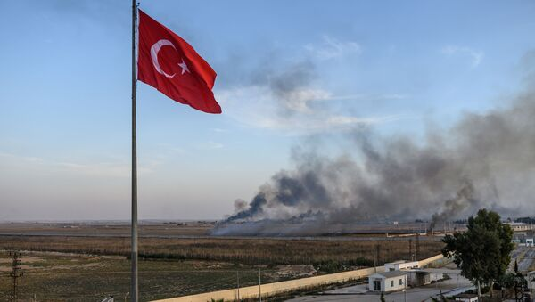 La bandera de Turquía y el humo tras los ataques aéreos en Siria - Sputnik Mundo