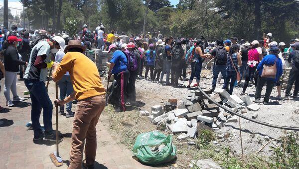 Cientos de voluntarios acudieron en la mañana del 14 de octubre para colaborar con la limpieza de la ciudad. En el Parque El Ejido, frente a la Casa de la Cultura, decenas de voluntarios, con escobas y mascarillas para protegerse del polvo.  - Sputnik Mundo