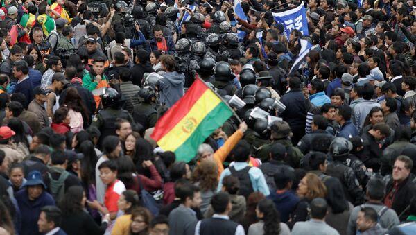 Una manifestación en La Paz tras las elecciones generales en Bolivia - Sputnik Mundo