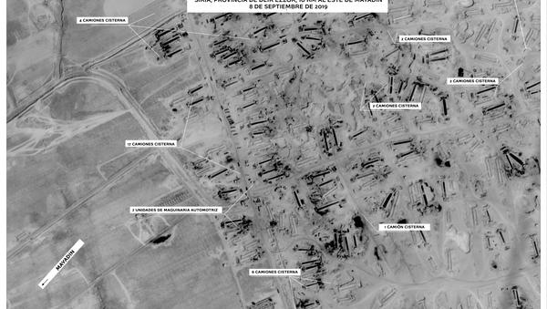 Imagen satelital del Ministerio de Defensa ruso muestra los equipos técnicos concentrados para el contrabando de petróleo en Siria - Sputnik Mundo