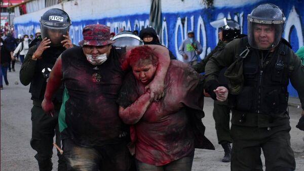 La alcaldesa de Vinto, Patricia Arce, tras sufir un brutal ataque por parte de manifestantes opositores a Evo Morales - Sputnik Mundo
