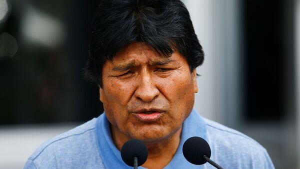 Evo Morales dando discurso al llegar a México - Sputnik Mundo
