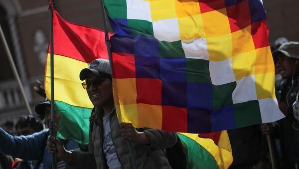 La bandera wiphala y la tradicional de Bolivia alzada por un manifestante durante una marcha en La Paz en apoyo a Evo Morales, noviembre de 2019 - Sputnik Mundo