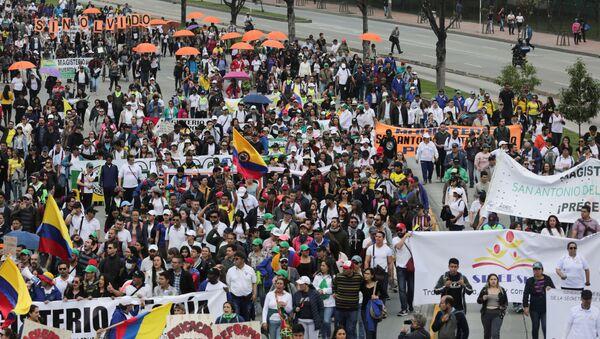 Las protestas durante el paro nacional en Colombia (archivo) - Sputnik Mundo