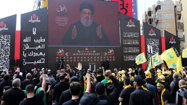 Una imagen de Hasan Nasrala, líder del grupo chiíta libanés Hizbulá - Sputnik Mundo