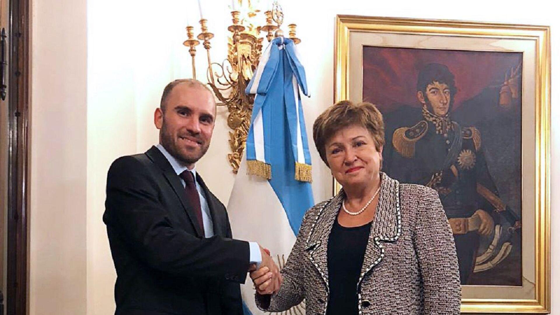 El ministro de Economía Martín Guzmán en reunión con la Directora Gerente del Fondo Monetario Internacional (FMI), Kristalina Georgieva - Sputnik Mundo, 1920, 11.03.2021