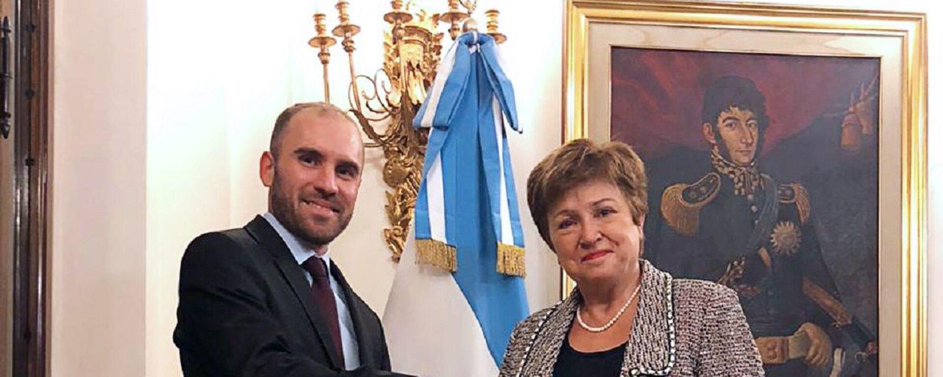 El ministro de Economía Martín Guzmán en reunión con la Directora Gerente del Fondo Monetario Internacional (FMI), Kristalina Georgieva - Sputnik Mundo, 1920, 13.10.2021