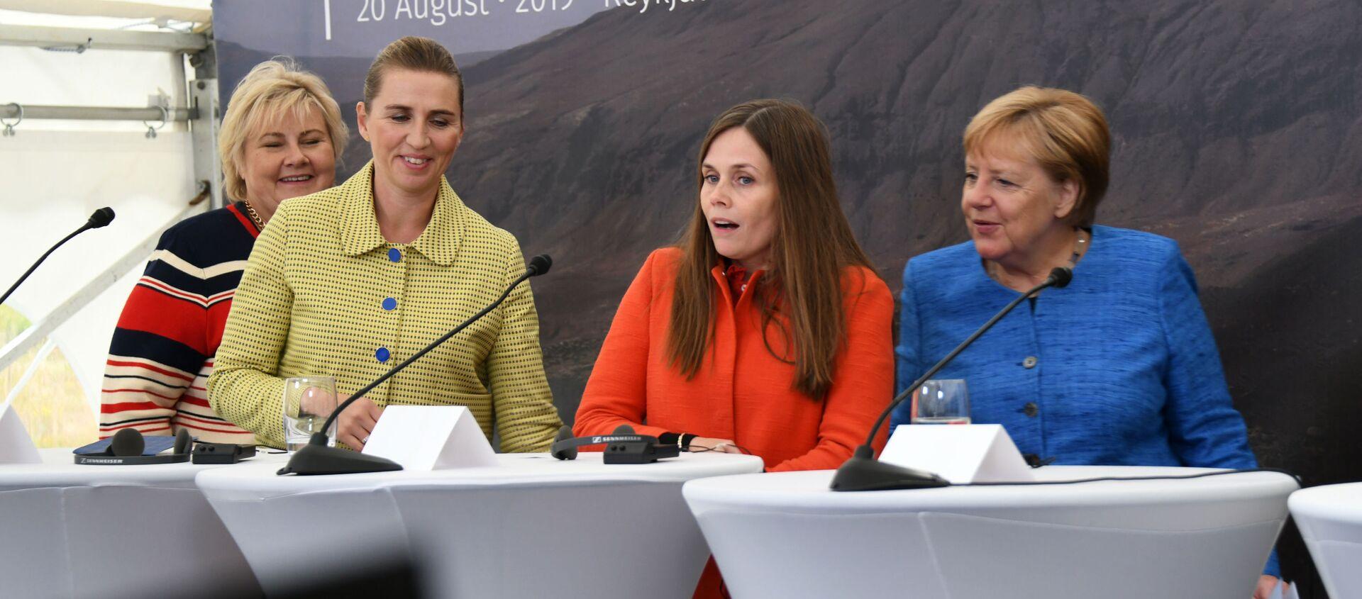 La primera ministra de Noruega, Dinamarca, Islandia y de Alemania en una rueda de prensa - Sputnik Mundo, 1920, 29.04.2020