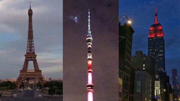 Las torres más emblemáticas del planeta se visten de solidaridad con los médicos del mundo - Sputnik Mundo