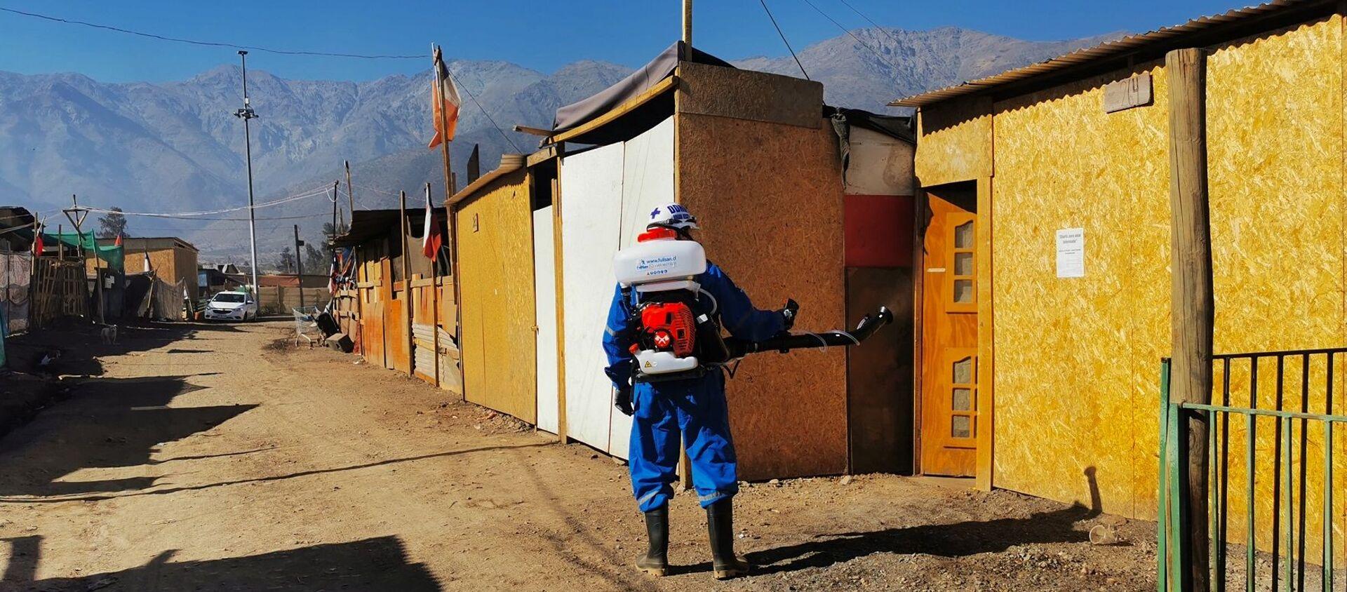 Empresa Fullsan realizando tareas de desinfección en Chile - Sputnik Mundo, 1920, 03.06.2020