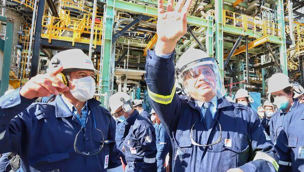 Alberto Fernández, presidente de Argentina, en la inauguración de la primera planta refinadora de diésel premium del país  - Sputnik Mundo