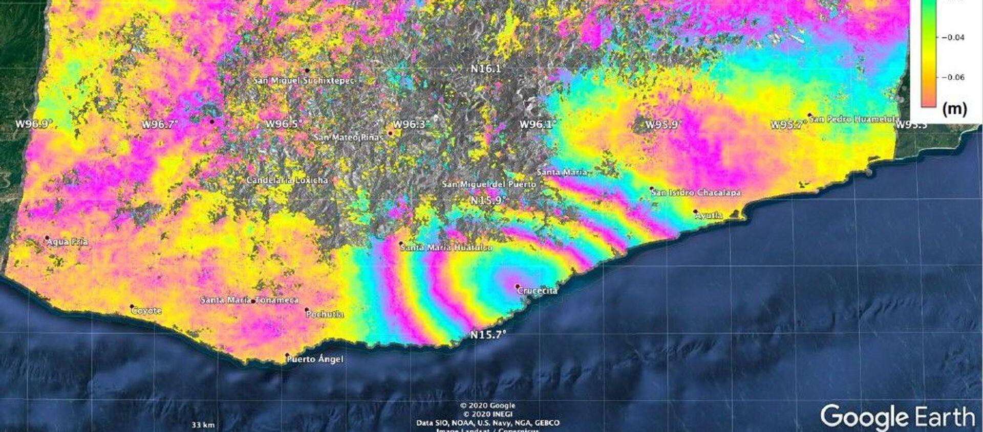 El desplazamiento de la superficie causado por el terremoto de magnitud 7,4 en México - Sputnik Mundo, 1920, 03.07.2020