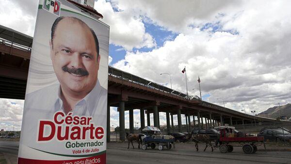 Un cartel electoral de César Duarte Jáquez, exgobernador del estado de Chihuahua  - Sputnik Mundo