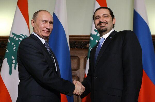 El primer ministro ruso Vladímir Putin y su homólogo libanés Saad Rafic Hariri - Sputnik Mundo