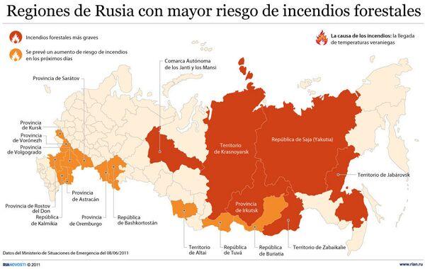 Regiones de Rusia con mayor riesgo de incendios forestales - Sputnik Mundo