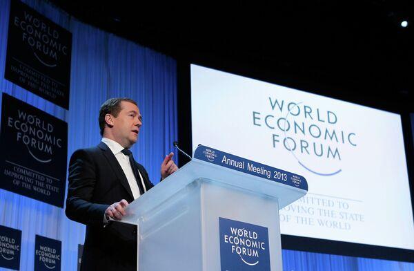 El primer ministro ruso Dmitri Medvédev en  el Foro Económico Mundial de Davos  en Suiza - Sputnik Mundo
