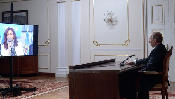 Videoconferencia de presidenta de Argentina, Cristina Fernández de Kirchner y presidente de Rusia, Vladímir Putin - Sputnik Mundo