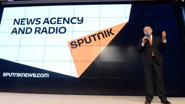 El logo de la agencia Sputnik durante su presentación - Sputnik Mundo