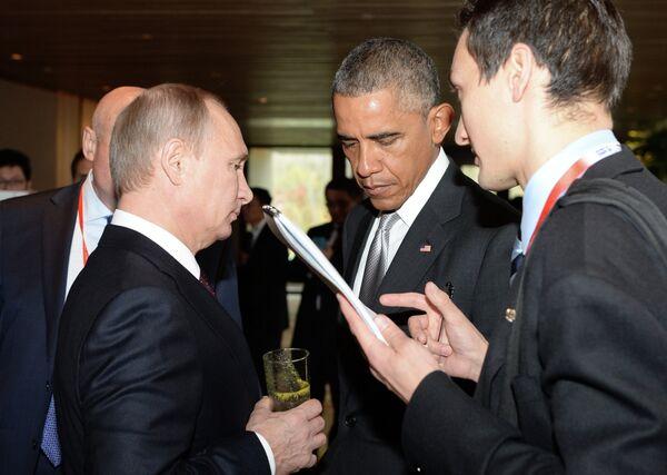 Presidentes de Rusia y EEUU, Vladímir Putin y Barack Obama - Sputnik Mundo